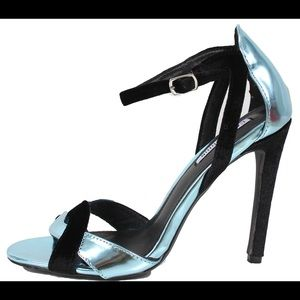 Aqua metallic Open toe ankle strap heel sandal